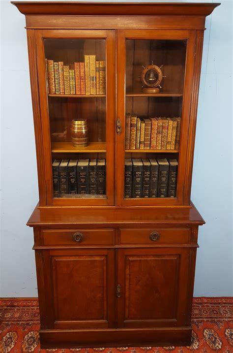 Two Door Bookcase by Walnut Two Door Bookcase Antiques Atlas