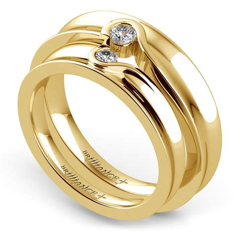matching bezel heart concave diamond wedding ring set in