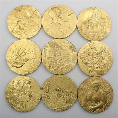 Coins Gold Mint Plated Franklin Van Gogh