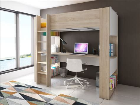 lit mezzanine avec bureau lit mezzanine noahbureau rangements 90x190cm option matelas