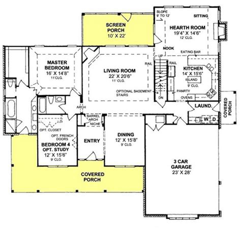 Kitchen Floor Plans With Hearth Room by 655905 4 Bedroom 3 Bath With Screened Porch And