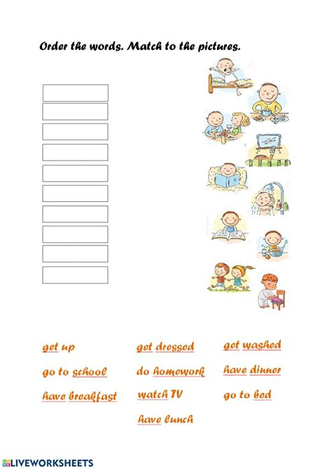 daily routine interactive worksheet
