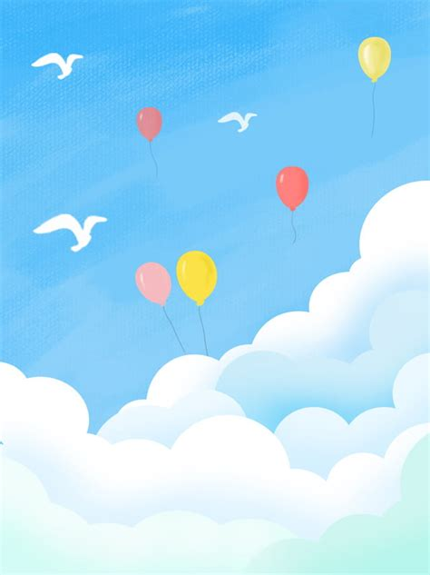 Full Hand Painted Blue Sky With White Clouds Background