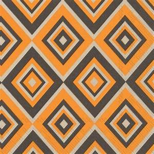 The Squadra Orange Grey modern designer paper napkins ...
