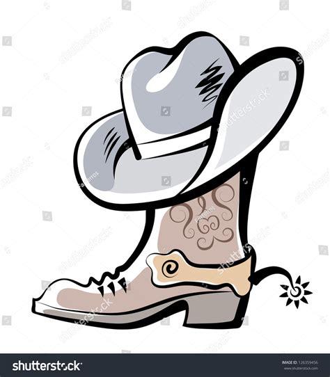 vector drawing boot hat cowboy stock vector