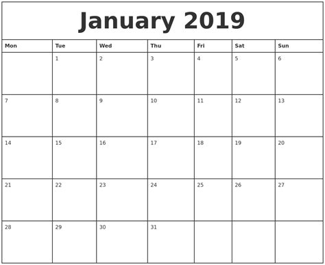 january printable monthly calendar