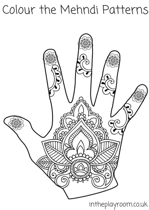 Mehndi Hand Colouring Pages | Mehndi patterns, Henna