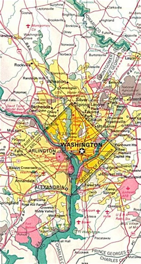 washington dc maps including outline  topographical