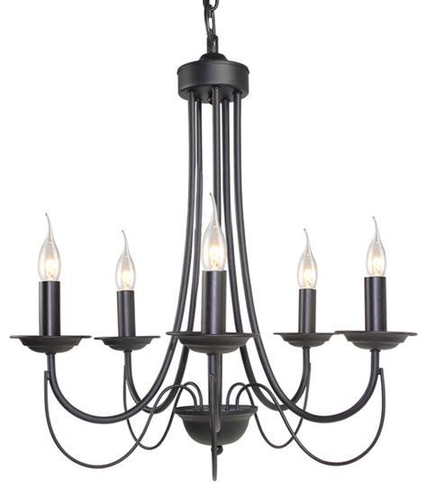 5 light retro style chandelier black iron industrial