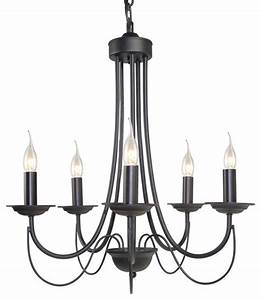 Lnc - 5-light Chandelier  Black Iron