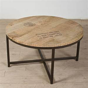 Industrial coffee table with round reclaimed wooden top for Round metal coffee table with wood top