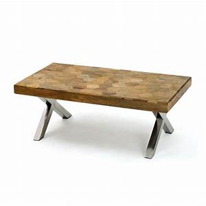 44quot l cool wood top metal leg coffee table handmade for Wood top coffee table metal legs