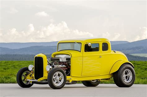 photo classic car yellow hot rod car  image