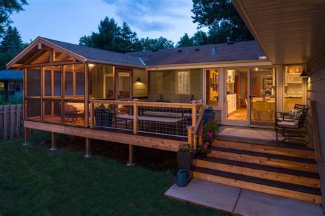 half porch deck traditional with screen midcentury dining