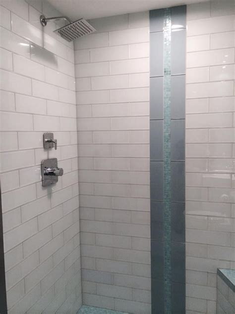 white glass    subway tile glass tile bathroom