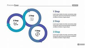Three step process chart slide template Vector | Free Download