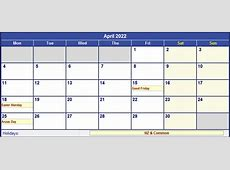 April 2022 New Zealand Calendar with Holidays for printing