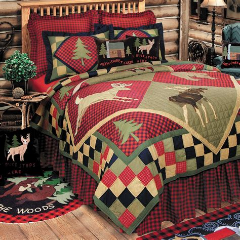 lodge wildlife patchwork quilt bedding