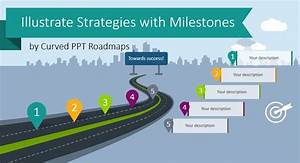Illustrate Strategies With Milestones By Curved Ppt