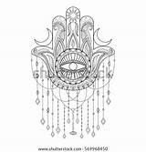 Coloring Hamsa Adult Symbol Drawn Tattoo Shutterstock Chandelier Yoga Blood Stress Protection Anti Drop Embroidery Template sketch template
