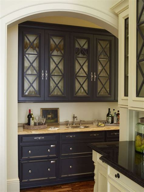 black butler s pantry cabinets with glass doors