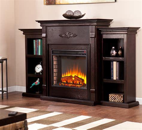 tennyson espresso electric fireplace package wbookcase
