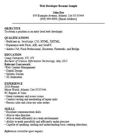 Entry Level Web Developer Resume pin retail cashier resume 447 on