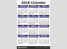 Simple vector calendar 2018 — Stock Vector