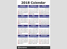 Simple vector calendar 2018 — Stock Vector