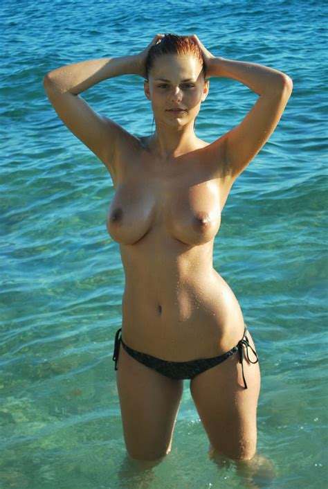 Perfect Redhead With Amazing Ideal Big Boobs At The Sea