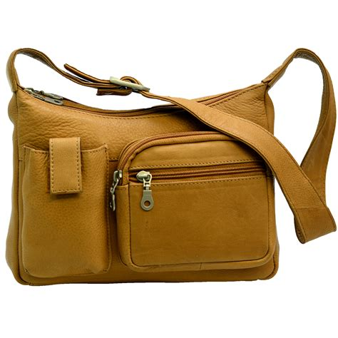 Womens Small Organizer Handbag Builtin Wallet Genuine Leather