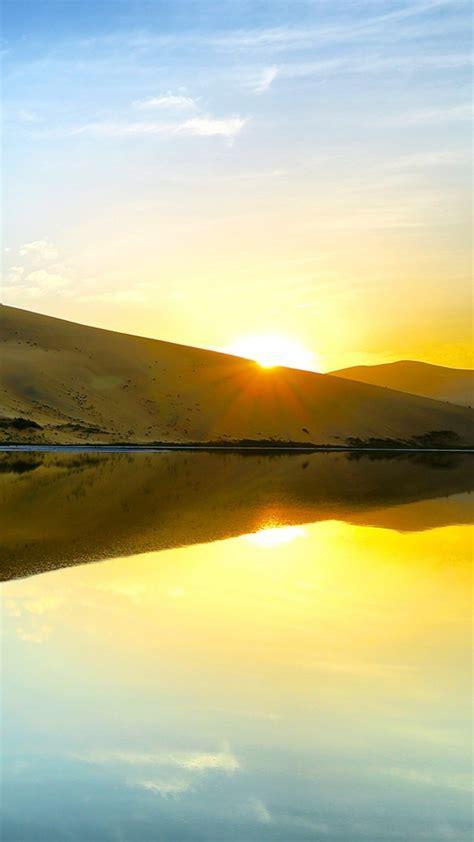 Desert Reflection On River During Sunrise Under Blue Sky ...