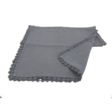 Dark Grey Linen Table Runner With Heart Edging From