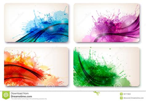 Collection Of Colorful Abstract Watercolor Cards. Stock Create Your Own Business Card Template Free Monologue American Psycho Library App Name Ai Visiting Design Artist Line Art Mehndi