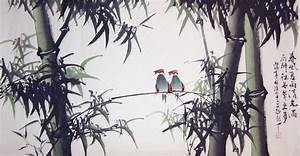 Double Sparrows in Green Bamboo Forest - Chinese bamboo ...