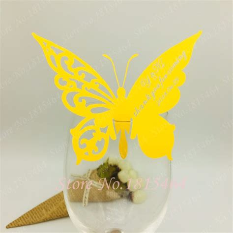 60pcs DIY Place Card butterfly Cups Glass Wine Customized