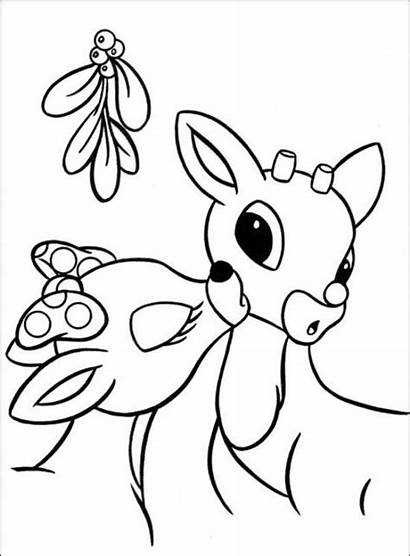 Reindeer Coloring Rudolph Pages Christmas Santa Nosed