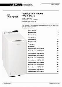 Whirlpool Tdlr 70221 Washing Machine Service Manual