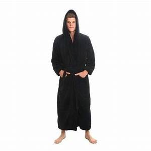 men39s black bathrobe large extra hooded fleece xl bath With robe extra longue