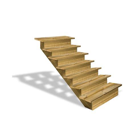 escalier en bois 7 marches pleines deck linea