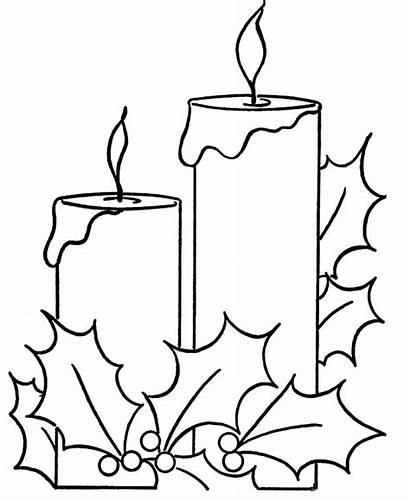 Candle Coloring Pages Draw Christmas