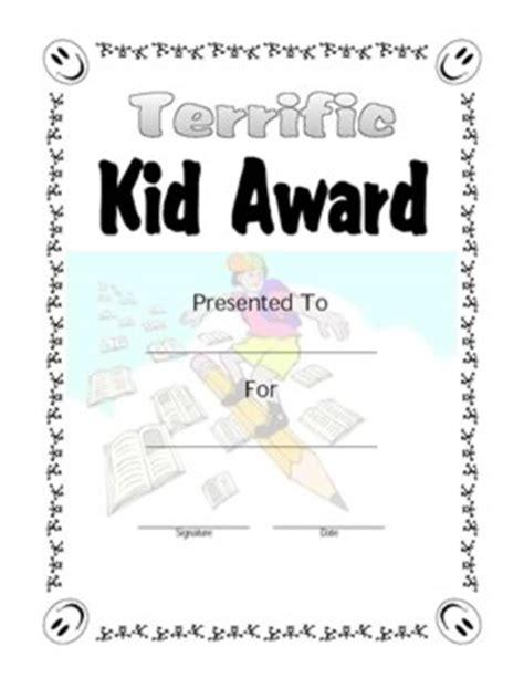 terrific kid award  certificate templates teachers