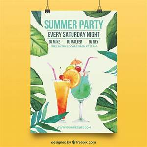 Elegant poster with summer party watercolor leaves Vector ...
