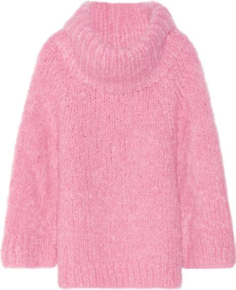 oversized pink sweater michael kors oversized mohair blend sweater in pink lyst
