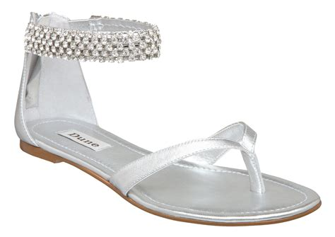 flat silver shoes dune d ankle bracelet flat sandals in silver lyst
