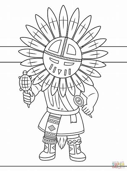 Coloring Native Pages Printable Kachina Doll Americans
