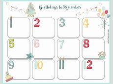 Free Birthday Calendar Customize Online & Print at Home