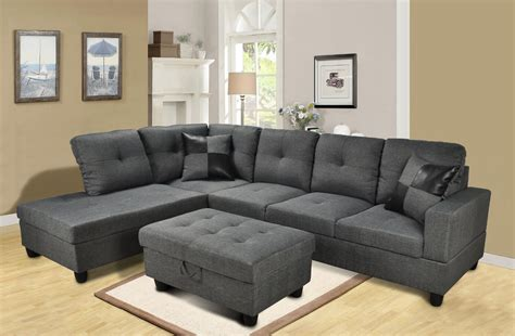 3 discount gray microfiber sectional sofa set with f108 gray microfiber sectional set with storage ottoman