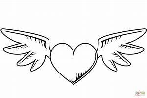 Top Hearts With Wings Coloring Pages Free - Coloring Pages ...