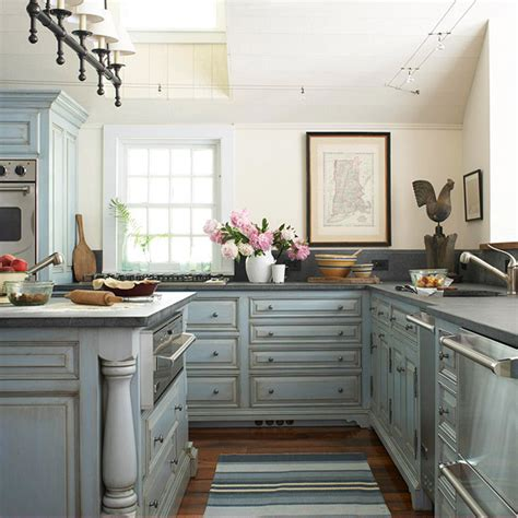 distressed blue kitchen cabinets distressed kitchen cabinets cottage kitchen bhg 6781